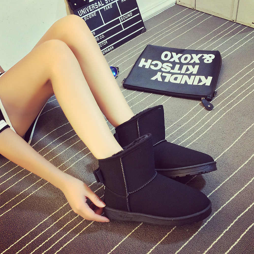 FEVRAL 2019 Marka Bayanlar Sonbahar/Kış Ayakkabı Düz Topuk Kadın Yüksek Kaliteli Katı yarım çizmeler Süet Moda Sıcak Botlar Boyutu 35-40