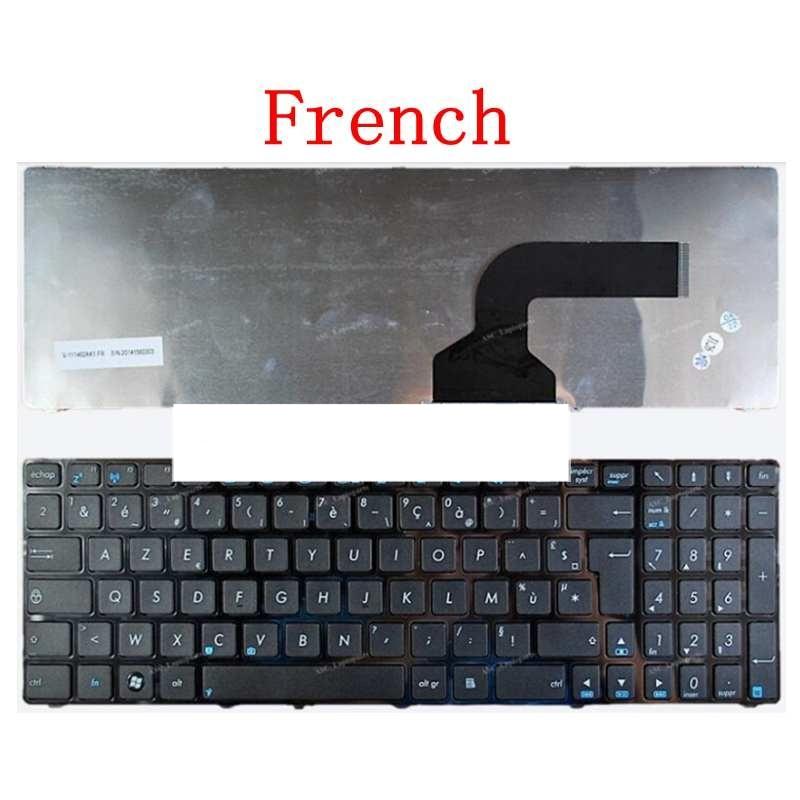 Fransız klaviatura FOR ASUS X53 X54H k53 A53 N53 N60 N61 N71 N73S N73J P52F P53S X53S A52J X55V X54HR X54C FR qara haşiyə