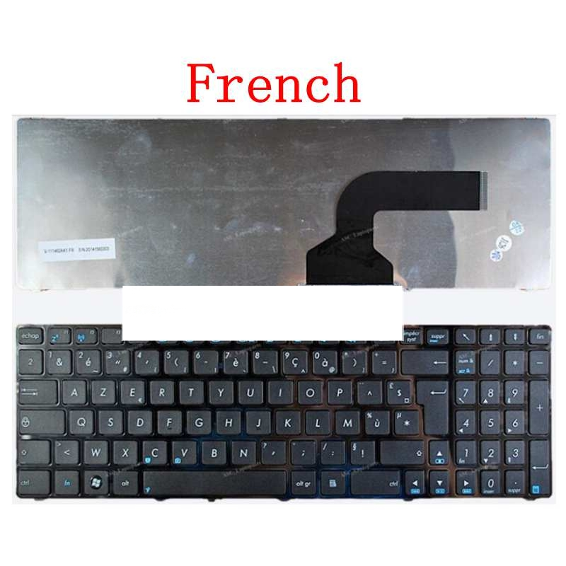 French Keyboard FOR ASUS X53 X54H K53 A53 N53 N60 N61 N71 N73S N73J P52F P53S X53S A52J X55V X54HR X54C FR Black Border
