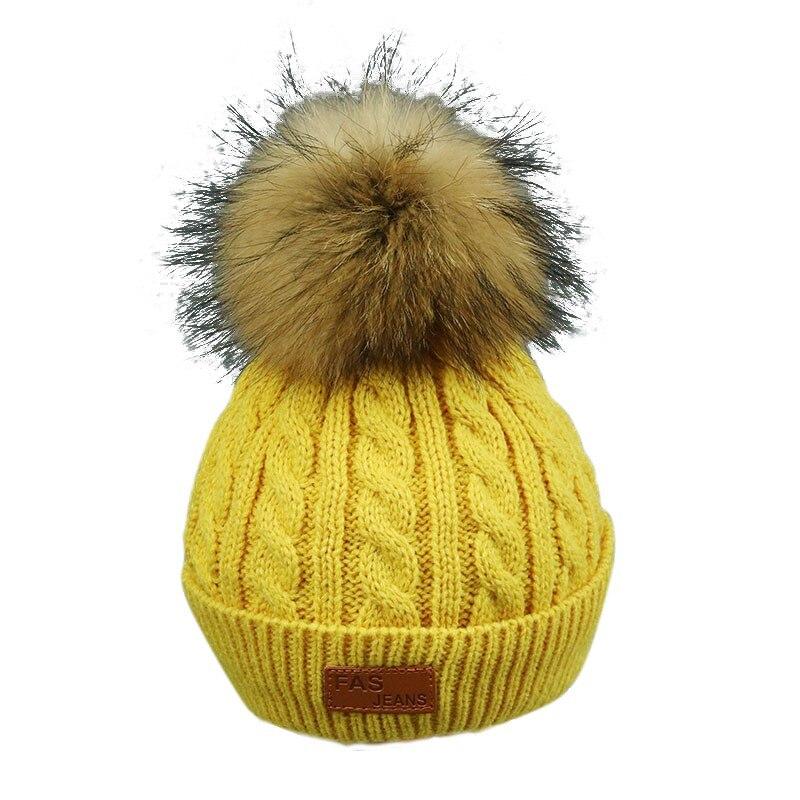 2017 Pom Children Winter Hat Kid Girls Hat Knitted Beanies Cap Brand New Thick Baby Cap Baby Girl Winter Warm Hat