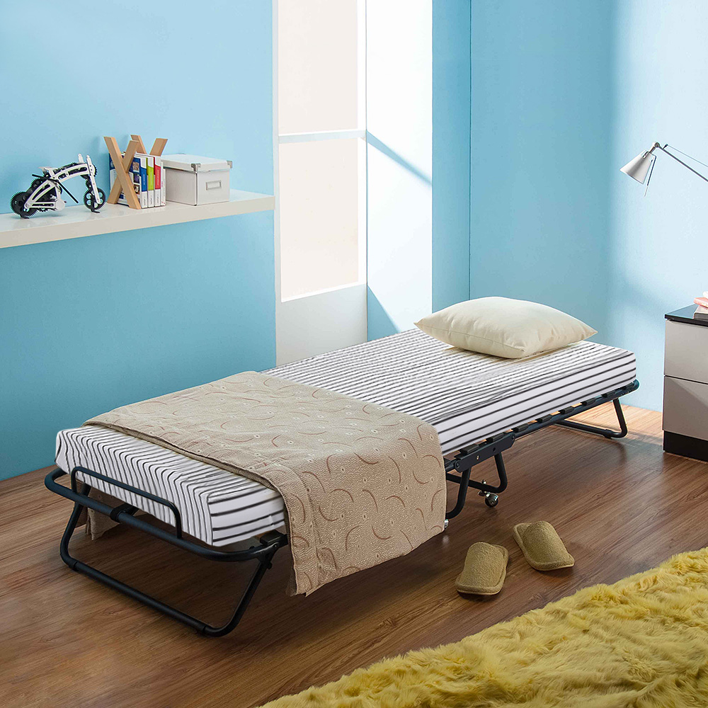 Ikayaa Metal Wood Rollaway Single Folding Guest Bed Cot With Mattress Cover 360casters 110kg Capacity For Bedroom Furniture In Beds From On