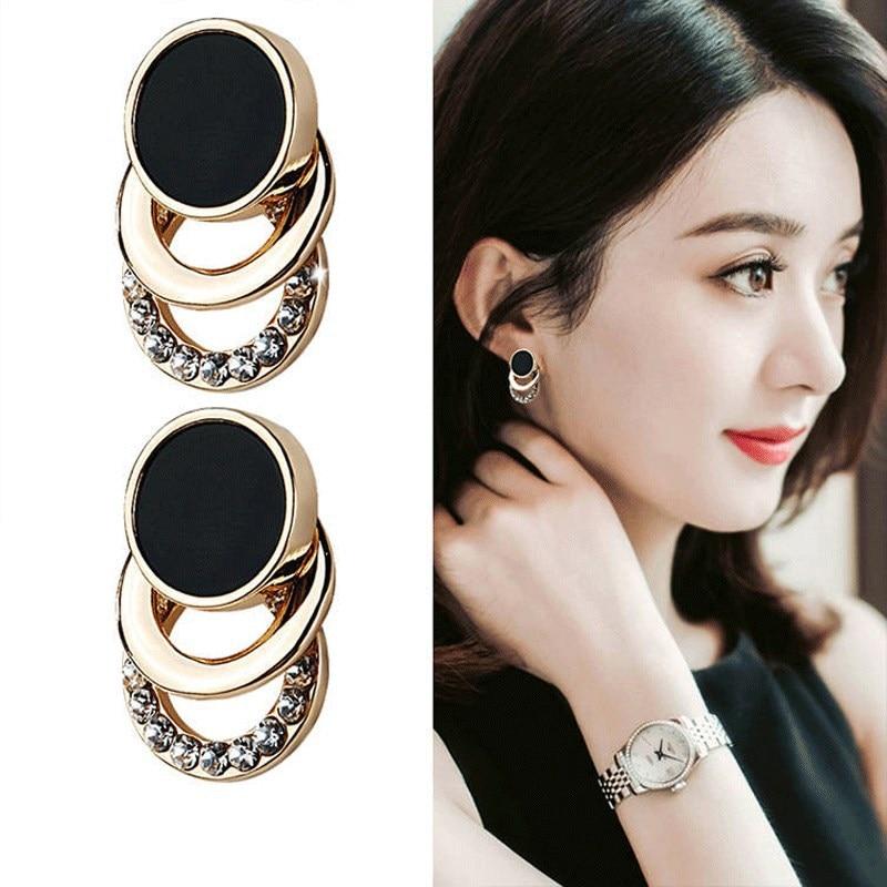 Brand New Design Fashion Charm Crystal Stud Earrings Geometric Round Circle Shiny Rhinestone Big Earring Jewelry Women Gift(China)
