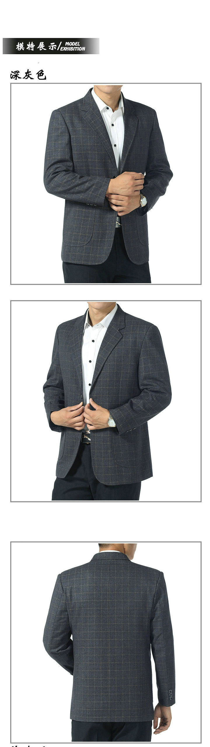 WAEOLSA Father  Blazer Blue Gray Plaid Jacket Suit Mature Men Business Casual Blazers Spring Autumn Garment Man Suit Coat (4)