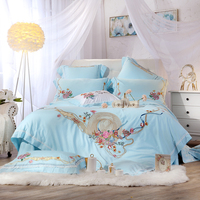 Blue princess luxury Bedding Set for girls queen king size bedsheet set Bed set duvet cover home textile pillowcases bedclothes