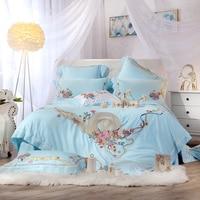 Blue princess luxury Bedding Set for girls queen king size bedsheet set Bed set duvet cover home textile pillowcases bedclothes