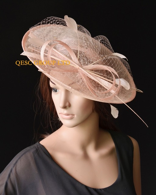 NEW Nude pink BIG sinamay hat Tea hat Kentucky derby hat wedding fascinator. 742db65f6e4