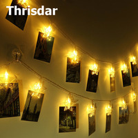Thrisdar 5M 35 Card Photo Clips Star Shape LED String Fairy Light Hanging Pictures Garland Party