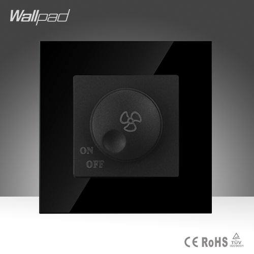 Wallpad Smart Home Fan Switch Black Crystal Glass Fan Rotary Speed Control Wall Switch Free Shipping