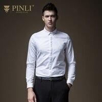 PINLI pin лай 2018 Новый стиль Для мужчин одежда, Cultivate one's morality жаккардовая Чистый Цвет Длинные рубашка с рукавами внутри B183513456