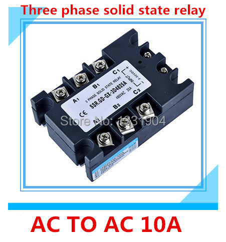 Three phase solid state relay AC to AC  SSR-3P-10 AA 10A SSR relay input 90-280V AC output AC380V free shipping three phase solid state relay ac to ac ssr 3p 100aa 100a ssr relay input 90 280v ac output ac380v