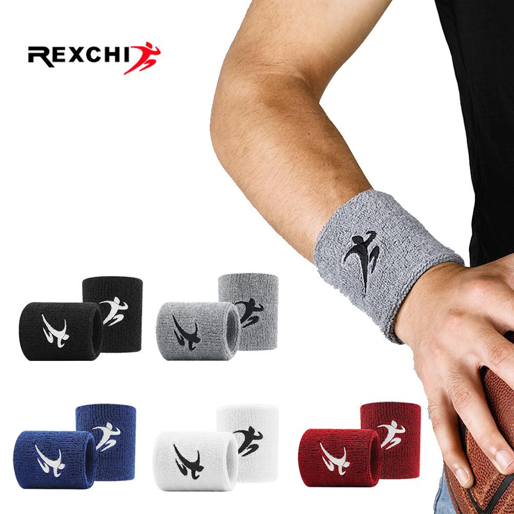 REXCHI Cotton Elastic Wristbands Gym Fitness Gear Support Power Weightlifting Wrist Wraps for Basketball Tennis Badminton Brace
