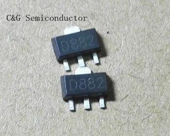 100 piezas 2SD882 D882 SMD Transistor 2A de alta corriente transistor SOT89