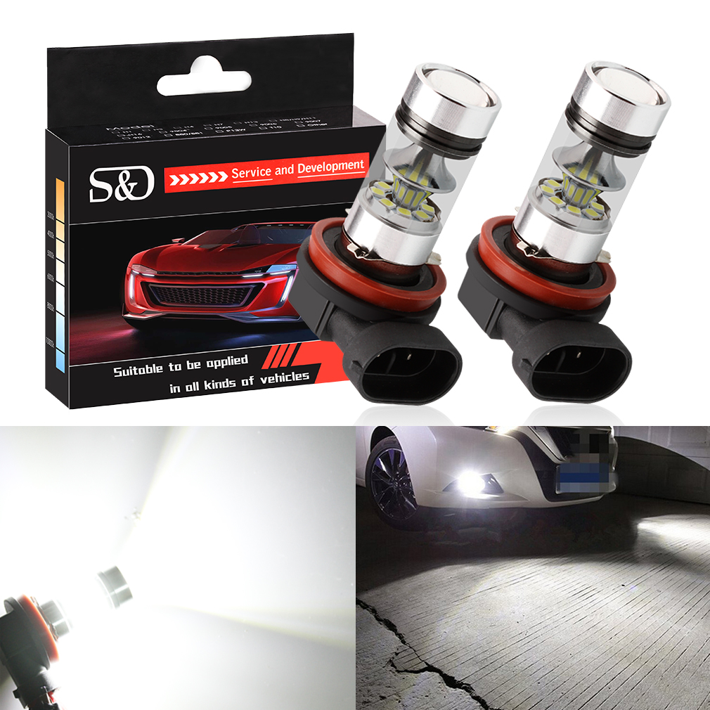 2pcs H11 H8 LED Fog Light Bulbs 9005 HB3 HB4 9006 Car Daytime Running Lights Auto DRL Driving Lamp 12V 24V 6000K White 2pcs universal car daytime running light led cob 12v drl auto driving front fog lamp white bulb waterproof 6000k