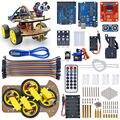 10 set/lote Multi-Funcional 4WD Robot Car Chassis Kits UNO R3 170 ponto Mini breadboard Para Montagem Do Carro Robô Kit Frete Grátis