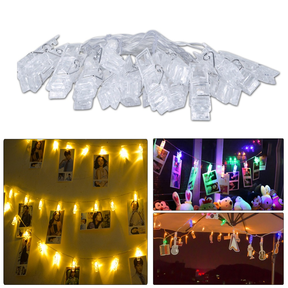 Garlands Card Photo Clip LED String Fairy Lights 10 20 LEDs Battery / USB Home Bed Light New Year Christmas Wedding Decoration jiaderui usb rechargeable battery neon lamp new year christmas wedding decor lamp flamingo cactus moon cloud led home nightlight