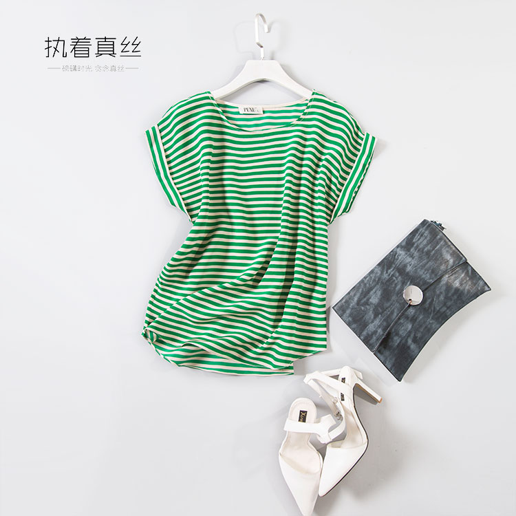 High end personalizzato 100% seta di gelso blu strisce orizzontali bianche  e anche a manica spalla T Shirt girocollo in High-end personalizzato 100% seta  di ... c73269daa34