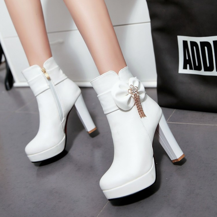 14_2016 Autumn Korean Womens Pink Dress Booties Shoes Princess Bow High Heels Black And White Platform Ankle Boots For Winter