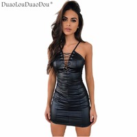 Fashion women 's Nightclub style dresses plus flannel back sexy belt strap deep V artificial leather dress Asian size S M L