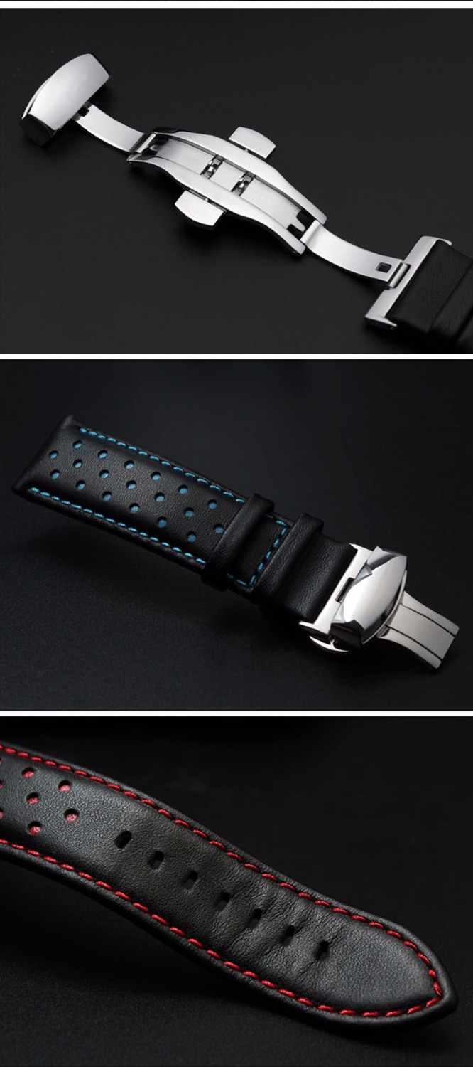 Купить с кэшбэком 20mm 22mm Real Cowhide Leather Handmade Black Red Blue Replacement Wrist Watch Band Strap Double Push Clasp