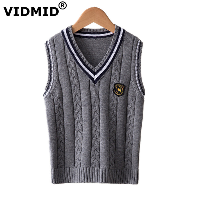 VIDMID Hot Sale Autumn Winter V-neck Baby Boys Knitted Vest Cardigan School Uniform Style Sweater Childrens clothing 7016 02