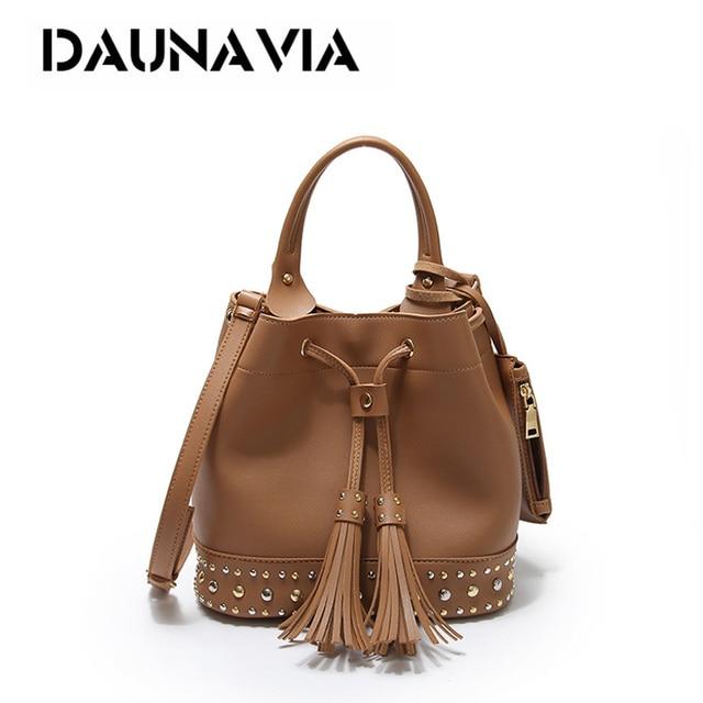 Fashion Rivet Bucket Bags Set Women Handbags Pu Tassels Las Shoulder For Female Crossbody