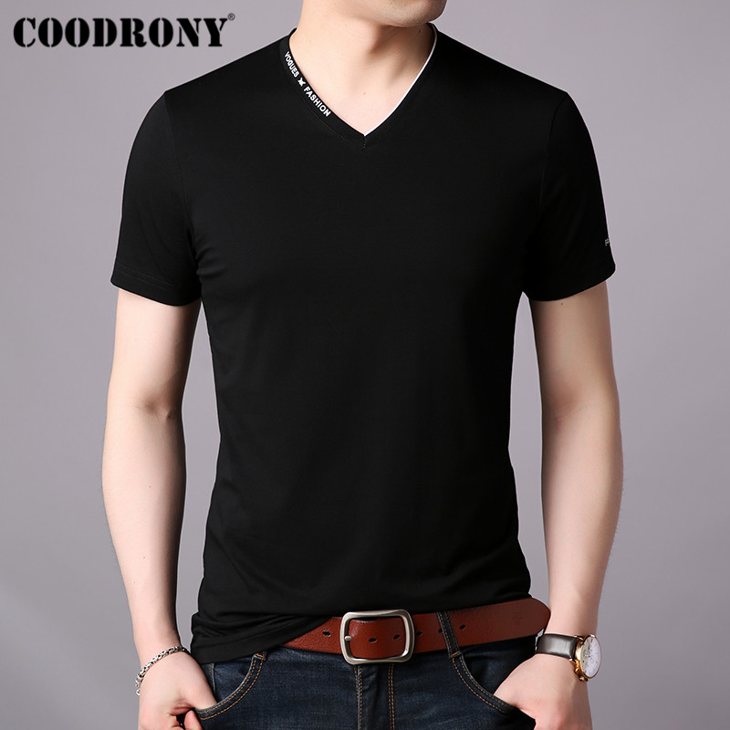 COODRONY T Shirt Men Short Sleeve T-Shirt Clothing 2019 Summer Streetwear Casual Mens V-Neck Tee Homme S95022