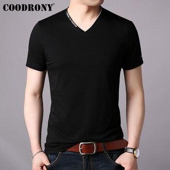 COODRONY T Shirt Men Short Sleeve T-Shirt Clothing 2019 Summer Streetwear Casual Mens V-Neck Tee Homme S95022