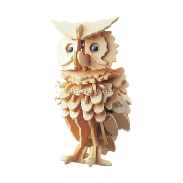 3D wooden Owl jigsaw puzzle toy Building construction educational wooden toys for children DIY handmade puzzles animal series