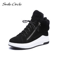 Smile circle Winter Sneakers For Women Suede Leather Wedges Shoes Women Lace up warm fur platform Shoes Winter Outdoor Shoes