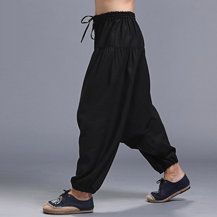 Men Yoga Harem Pants Hippie Boho Cotton Drawstring Wide Leg unisex pant Traditional Casual Leisure festival sport Trouser in Yoga Pants from Sports Entertainment