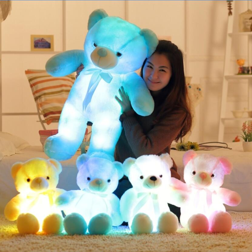 50cm Creative Light Up LED Teddy Bear Stuffed Animals Plush Toy Colorful Glowing Teddy Bear Christmas Gift for Kids large cute cartoon animals bear panda doll bear hug colorful led flashing light led plush toy for kids children gift