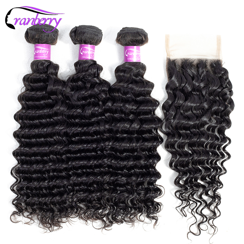 CRANBERRY Brazilian Hair Weave Bundles With Closure Deep Wave Human Hair Bundles With Closure 4 pcs