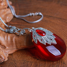 7.2cm Princess 925 Sterling Silver Necklace girls Natural semi-precious stones red Garnet Pendant large maple leaf with chain