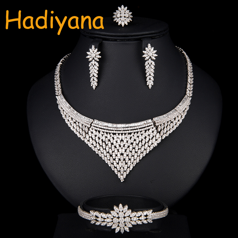 Hadiyana Luxury Women Jewels Elegant Shape Bridal CZ Necklace Earrings Bracelet Ring 4pcs Wedding Jewelry Big Sets Party CN766 a suit of elegant rhinestone whorl hollow out necklace bracelet earrings and ring for women