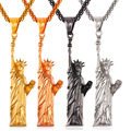 Hot steampunk americano estátua da liberdade colar de homens/mulheres encantos jóias em aço inoxidável/banhado a ouro declaração pingente gp2409