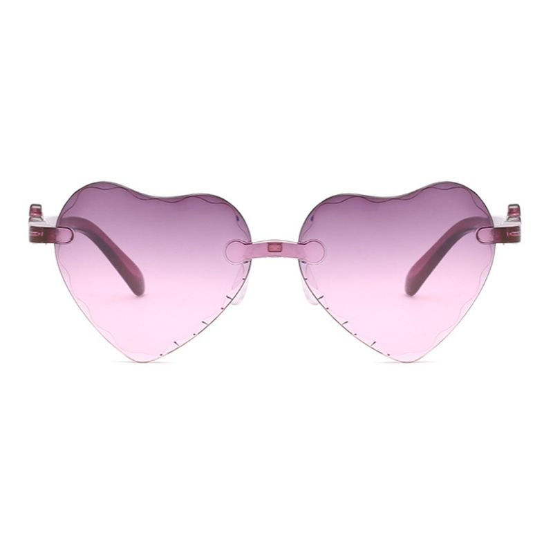 Fashion Kids Hats Caps Love Heart Shape Sunglasses Rimless Frame Tint Clear Lens Colorful Sun Glasses Pink Shade in Hats Caps from Mother Kids