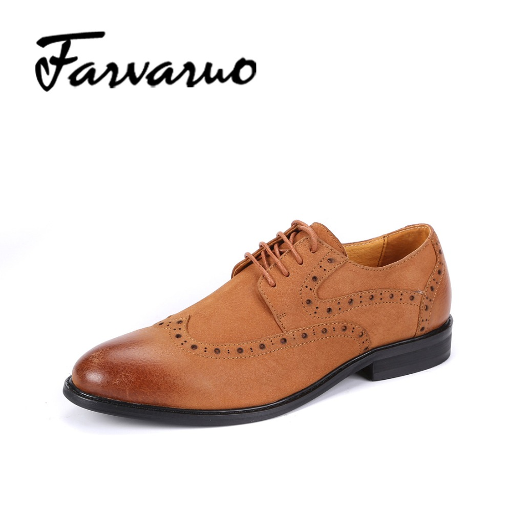 Farvarwo Fashion Mens Oxfords Suede Genuine Leather Casual Dress Shoes Italy Formal Flats Low Business Shoes Men Lace-up Brogues good quality men genuine leather shoes lace up men s oxfords flats wedding black brown formal shoes