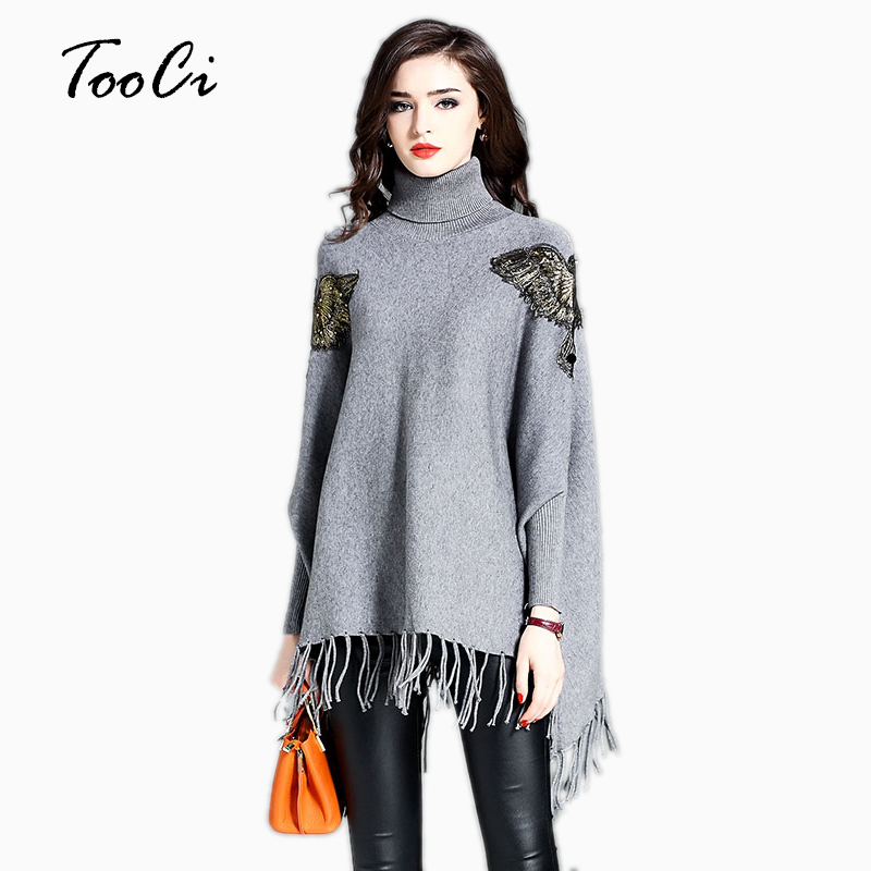 The Lady New Spring Tassel Cloak Pullover Loose Fashion Gray Knitting High-Necked Bat Sleeve Sweater Tassel Knit Shawl Cape