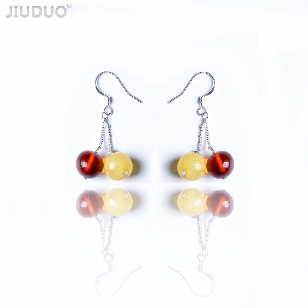 Genuine luxury Pure natural amber beeswax earrings beads 925 sterling silver care beeswax temperament fashion earrings female genuine natural baltic beeswax earrings amber beeswax pure silver earrings earrings female female 925 silver jewelry de005