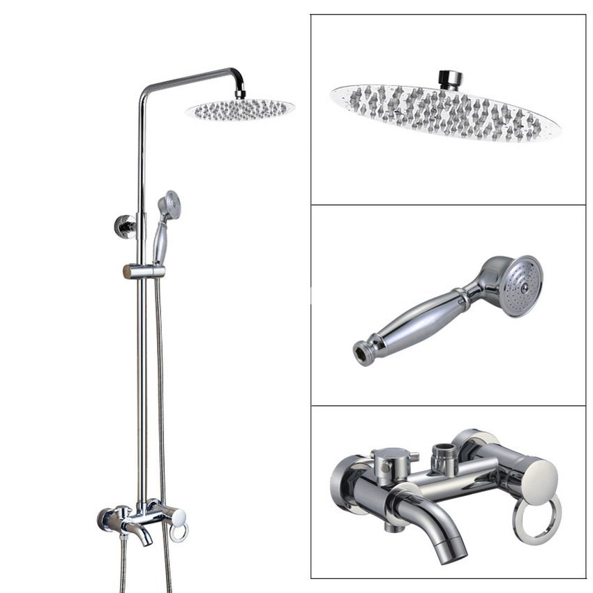Wall Mounted Bathroom Rain Shower Faucet Set Polished Chrome Brass Handheld Shower Head Single Lever Bath Tub Mixer Tap acy336 modern geometric wallpaper designs vinyl textured white silver grey wall paper roll for bedroom