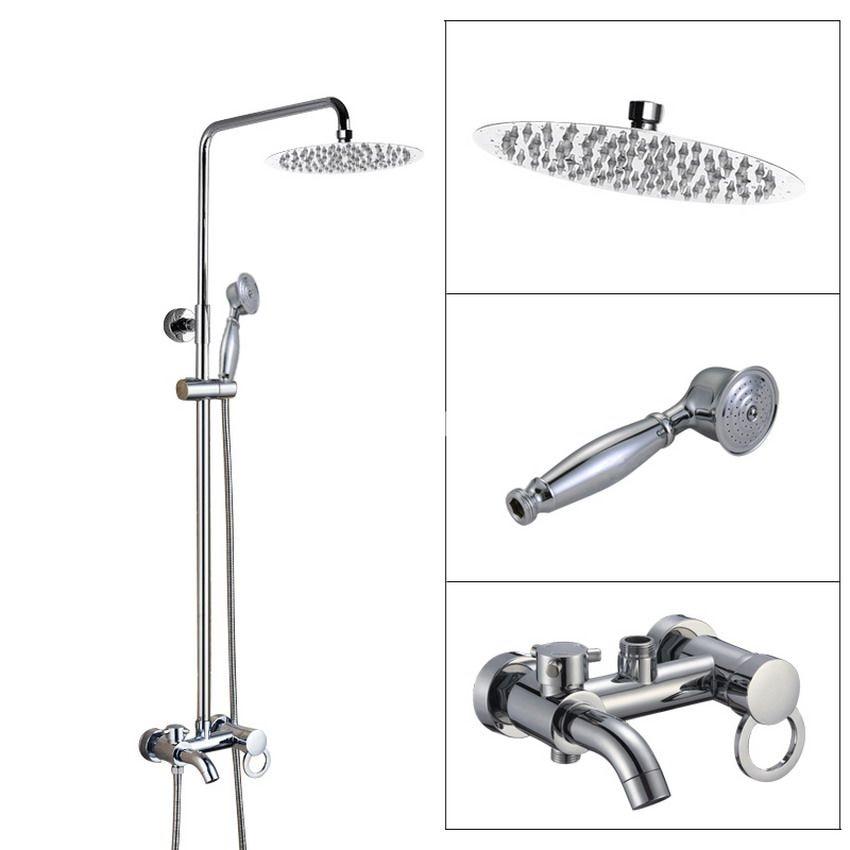 Wall Mounted Bathroom Rain Shower Faucet Set Polished Chrome Brass Handheld Shower Head Single Lever Bath Tub Mixer Tap acy336 джинсы imocean imocean im007ewwda28