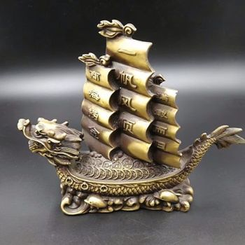 Elaborado chino antiguo estilo latón dragón tortuga vela barco escultura propicia