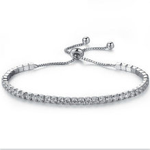 Luxury Zircon Crystal Bracelet Silver Adjustable Charm Tennis Bracelet Female Models Girls Friends Hand Jewelry(China)