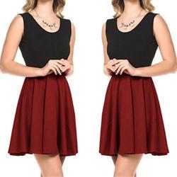 Women Summer Casual Short Sleeveless Patchwork Dreess Evening Party Short Mini Dress New 1