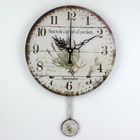 Mediterranean Style Swing Mute Wall Clock Waterproof Clock Face Home Watches Wall Bedroom Decor Vintage Wall