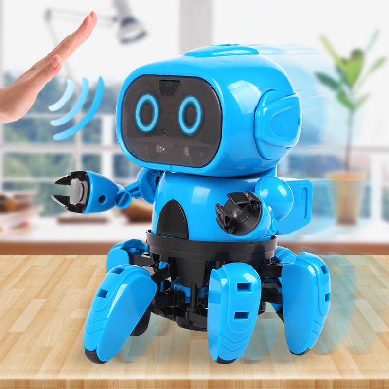 Robot  Small Six Smart Induction 6-Legged RC DIY Assemble Electric Follow Gesture Sensor Kids Gift Educational Toy