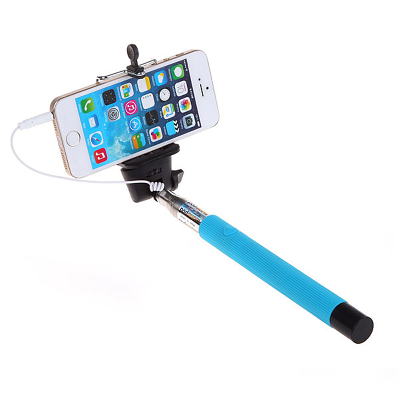 High Quality 100CM Extendable Handheld Selfie Stick With Remote Shutter Button 3.5mm Cable Wired Selfie Monopod For Android IOS Phone