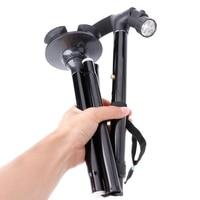 New 1pc Anti-Shock Folding Elder Hiking Trekking Walking Stick Anti Skid With LED Light
