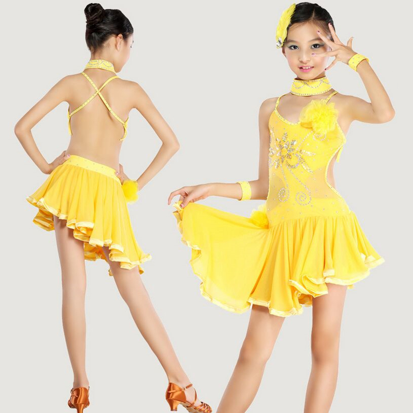 3 pieces set kid girls latin dance costumes dresses for sale Ballroom Dance  Costume black yellow Latin Dance Dress For Girls