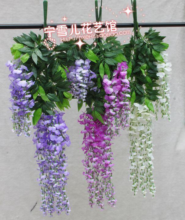 Fleurs de Simulation, fleurs décoratives en plastique ficelle de canne de vigne verte de glycine en gros - 3
